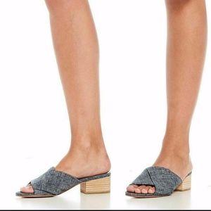 Eileen Fisher Ruche Mule Sandals Block Heels NEW